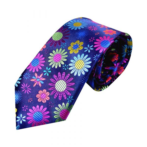 Limited Edition Platinum Silk Tie from Van Buck. Navy with Multi Colour Daisy Flowers