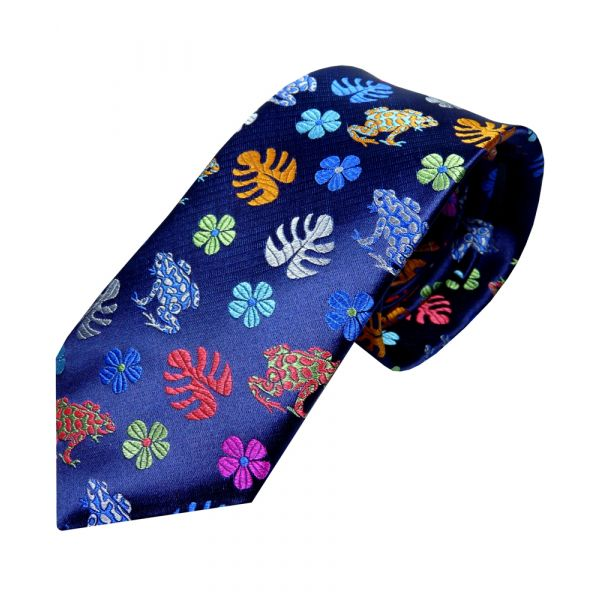 Limited Edition Platinum Silk Tie from Van Buck. Navy with Multi Colour Lily Pads and Frogs