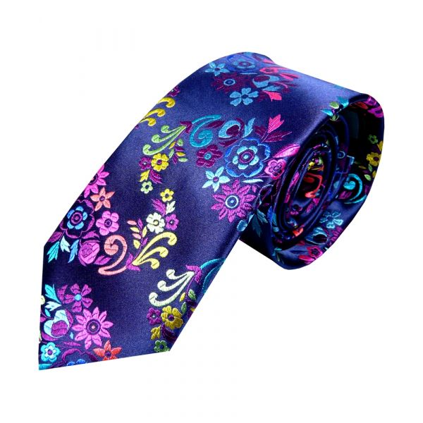 Limited Edition Platinum Silk Tie from Van Buck. Navy with Blue and Magenta Floral Leaves