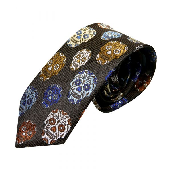 Limited Edition Platinum Silk Tie from Van Buck. Black with Brown Blue and Silver Skulls Design