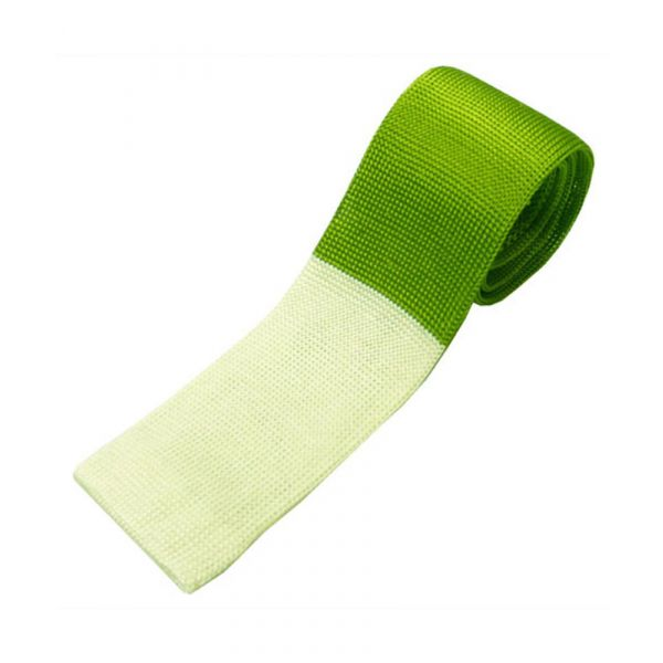 Green Knitted Silk Tie with Ecru Tip