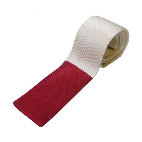 Ecru Knitted Silk Tie with Red Tip