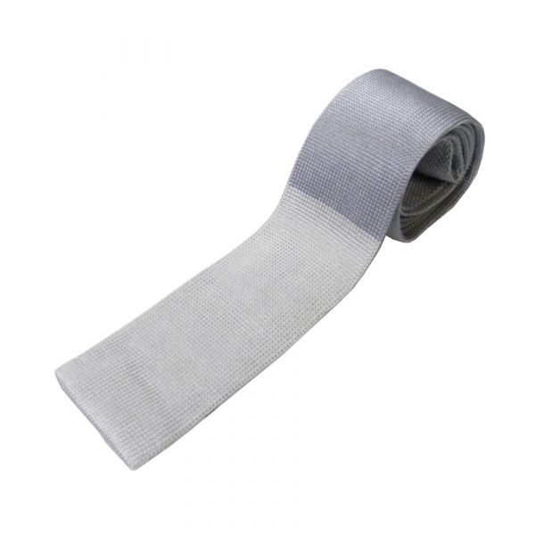 Grey Knitted Silk Tie with Silver Tip