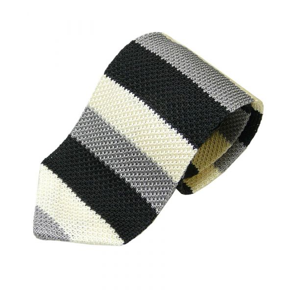 Black Silver and Cream Mitre Blade Knitted Silk Tie