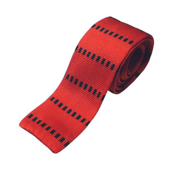 Red Knitted Silk Tie with Black Squares