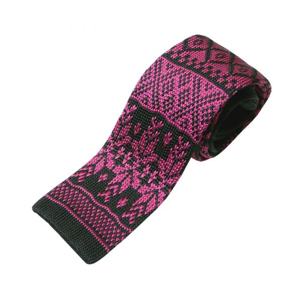 Black With Cerise Snowflake Knitted Silk Tie