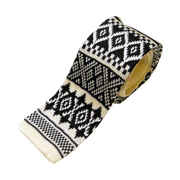 Black and Cream Fairisle Knitted Silk Tie