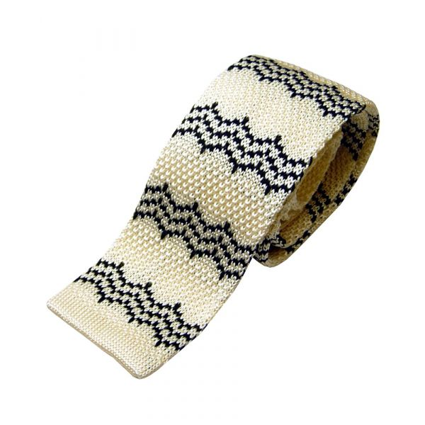 Cream Knitted Silk Tie With Black Zig Zag