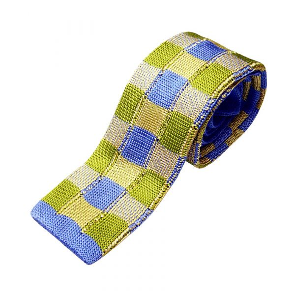 Blue and Lime Check Knitted Silk Tie