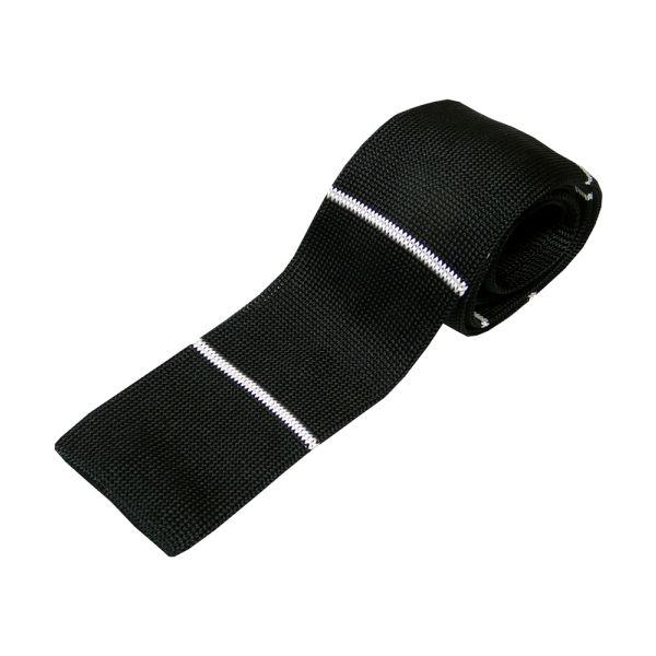 Black Knitted Silk Tie with Thin White Stripe.