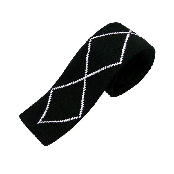 Black Knitted Silk Tie with White Stitch Diamond Design