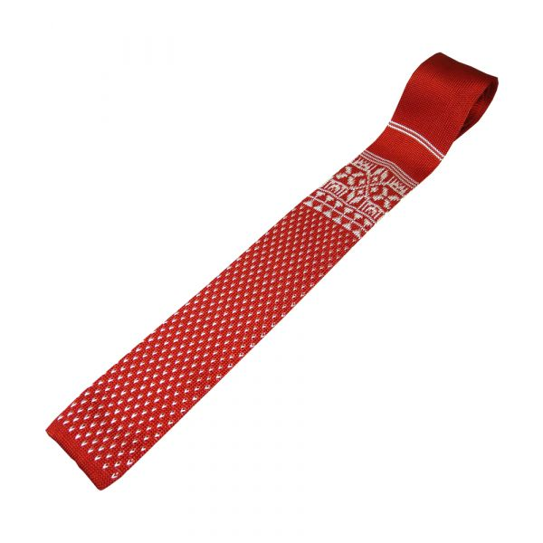Red Knitted Tie with White Design
