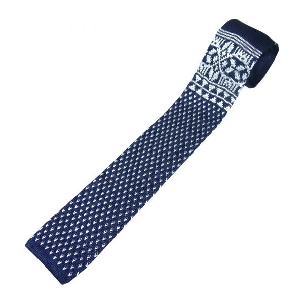 Navy Knitted Silk Tie with White Design