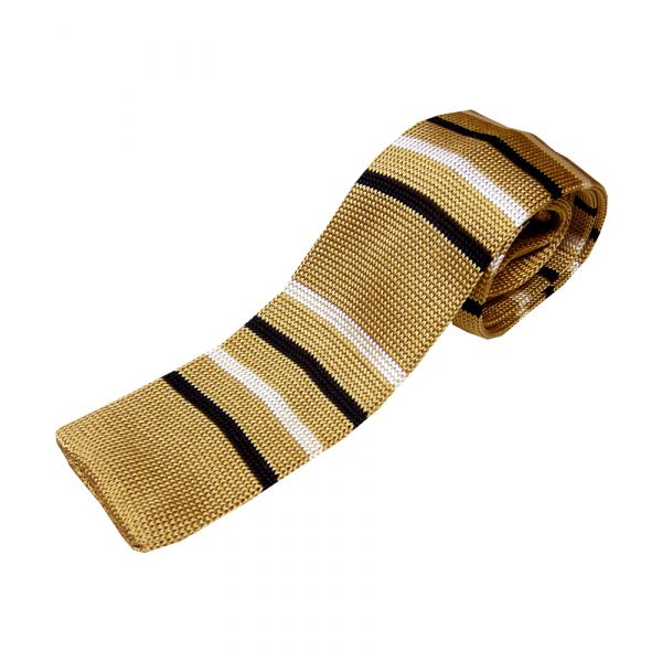Beige Knitted Silk Tie with Thin White & Brown Stripe