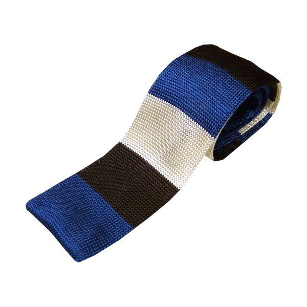 Cream Blue & Brown Block Stripe Knitted Silk Tie