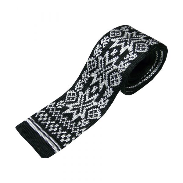 Black with White Cross Stitch Design Knitted Silk Tie.