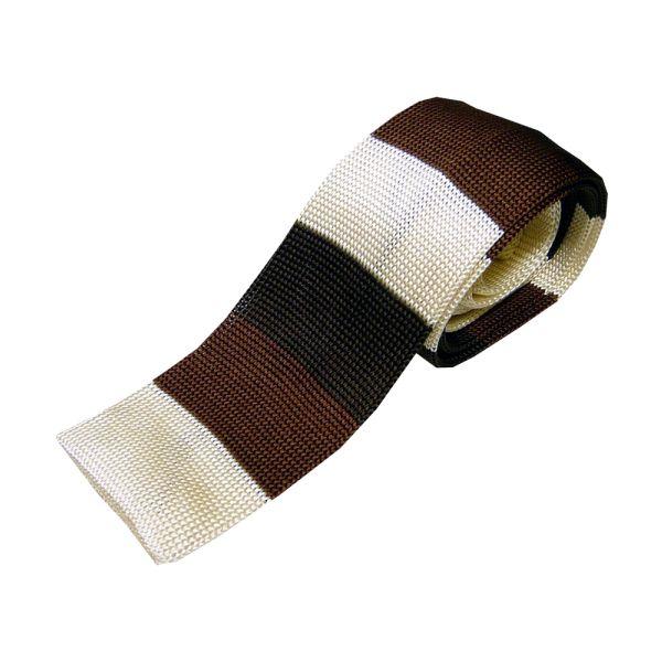 Browns & Beige Stripe Knitted Silk Tie