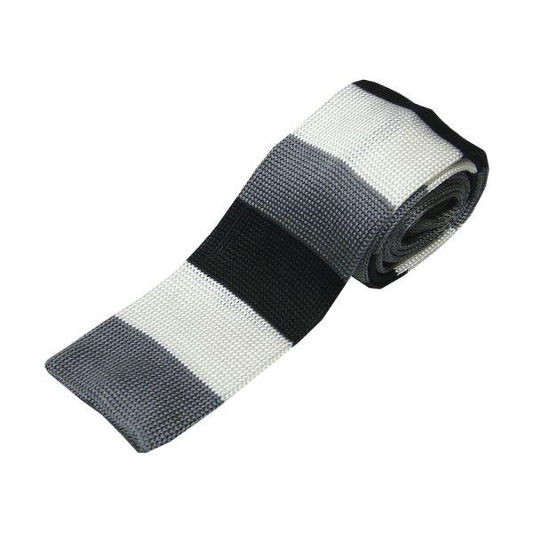 Black Grey & Silver Stripe Knitted Silk Tie