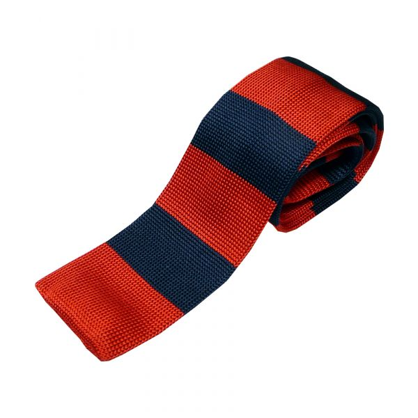 Red and Navy Even Stripe Knitted Silk Tie
