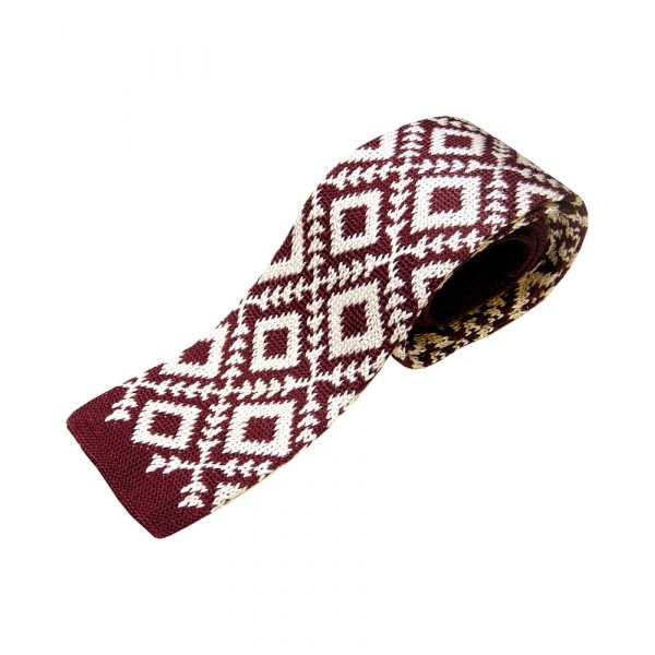 Burgundy Knitted Silk Tie with Large White Diamond Design