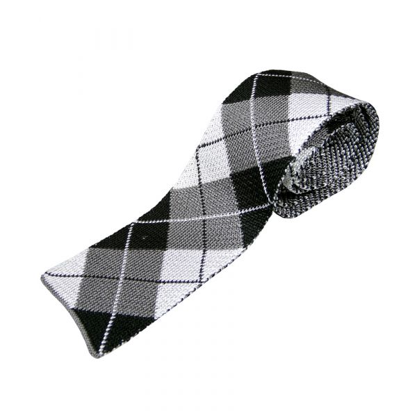 Black and Grey Argyle Knitted Silk Tie