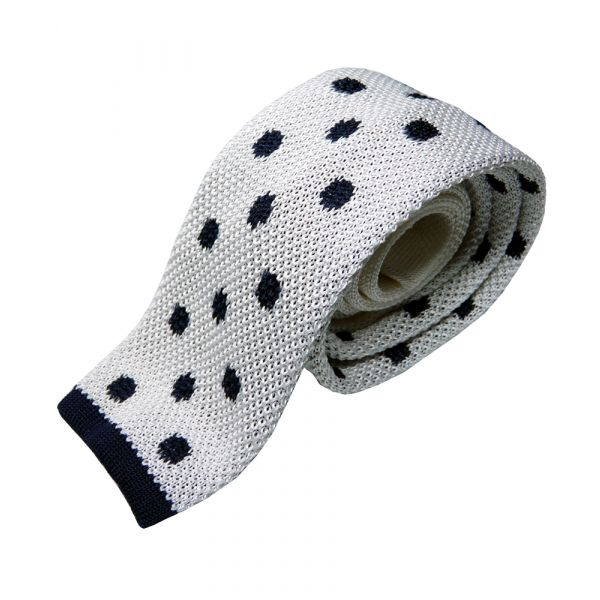 White with Navy Spots Knitted Silk Tie from Knightsbridge Neckwear