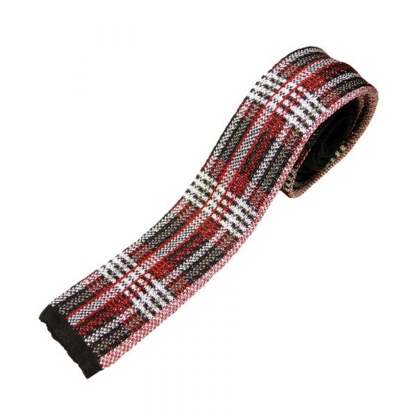 Black White and Red Grid Knitted Silk Tie