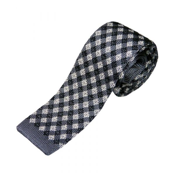Grey and Beige Diamond Check Knited Silk Tie