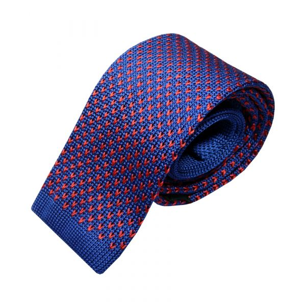 Blue with Red V Design Knitted Silk Tie from Woods of Shropshire