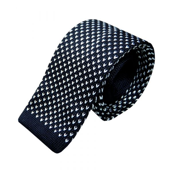 Navy with White V Design Knitted Silk Tie from Woods of Shropshire