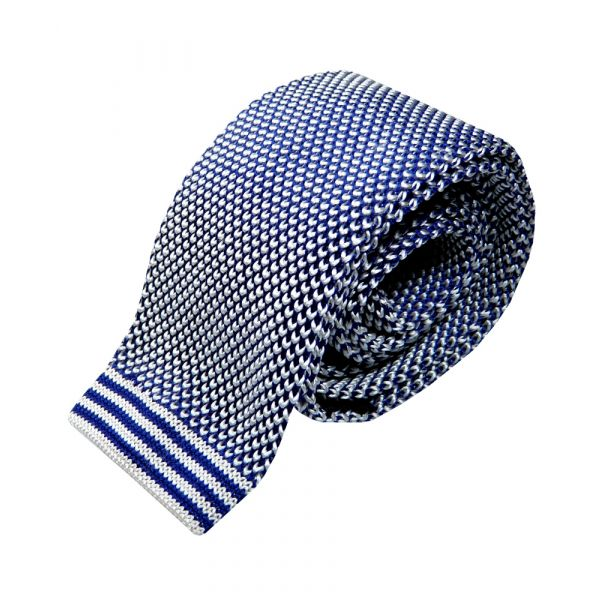 Royal and White Design Knitted Silk Tie from Woods of Shropshire