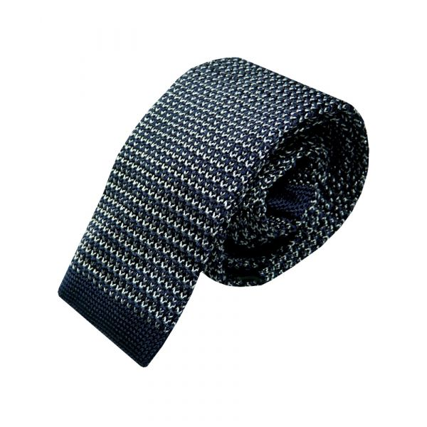Navy and Grey Intricate Design Knitted Silk Tie from Woods of Shropshire
