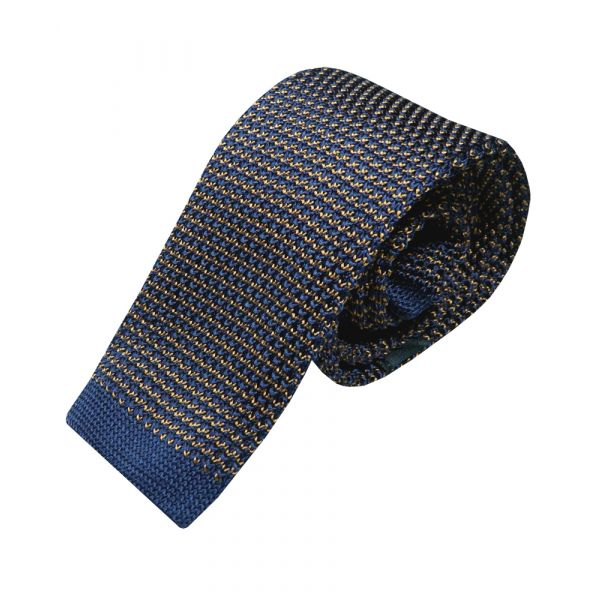 Navy and Brown Intricate Design Knitted Silk Tie from Woods of Shropshire