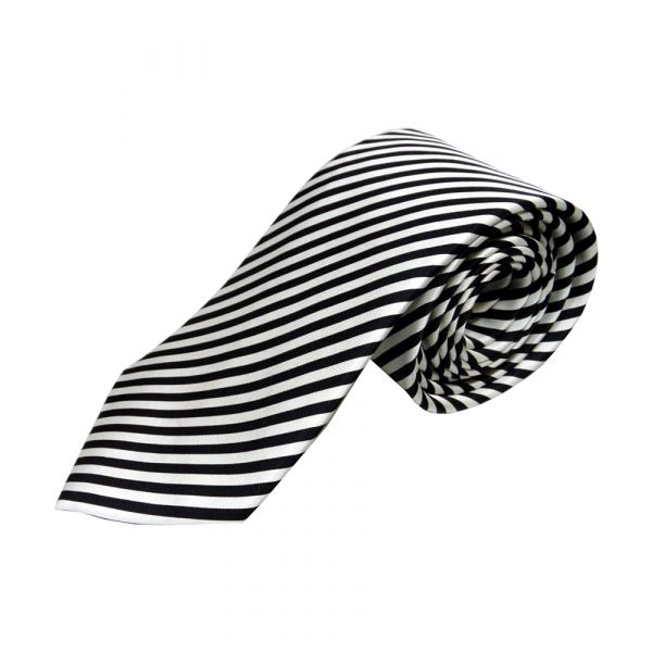 Black and White Stripe Silk Tie