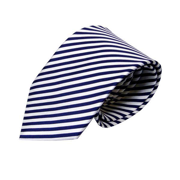 Navy and White Stripe Silk Tie