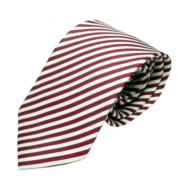Red and White Stripe Silk Tie