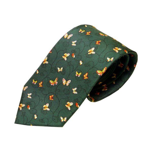 Green Butterfly Printed Silk Tie
