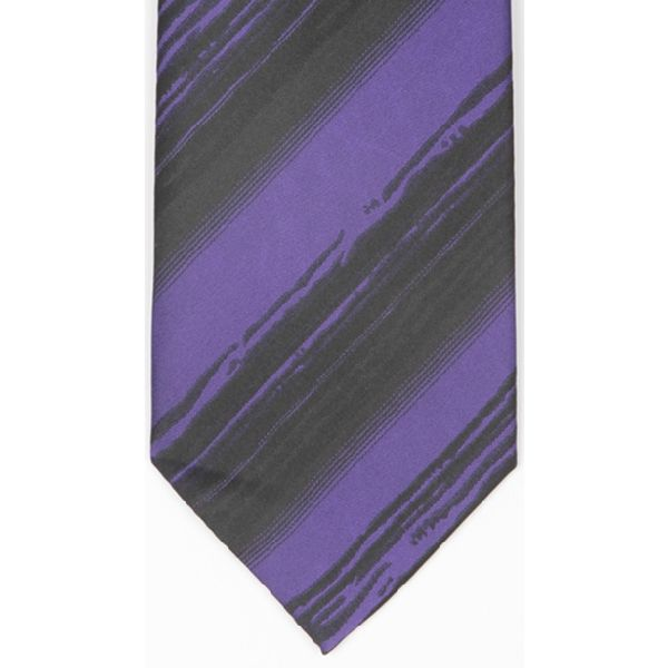 Purple Black Ribbed Stripe Woven Silk Tie