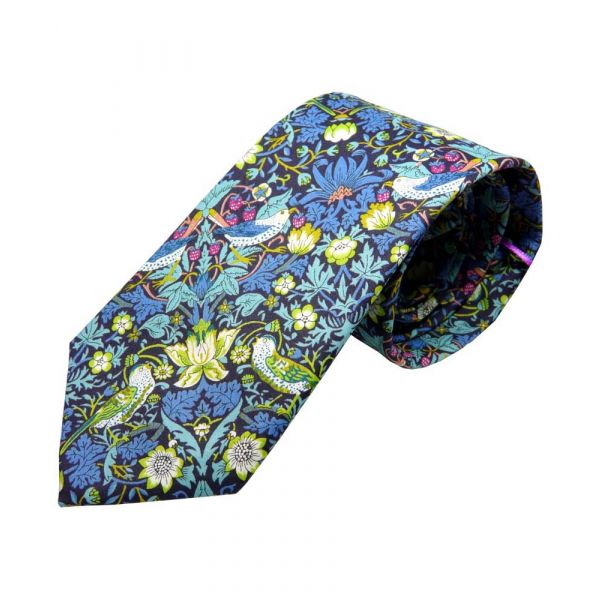 Made with Liberty Fabric Strawberry Thief Design in Green Cotton Tie