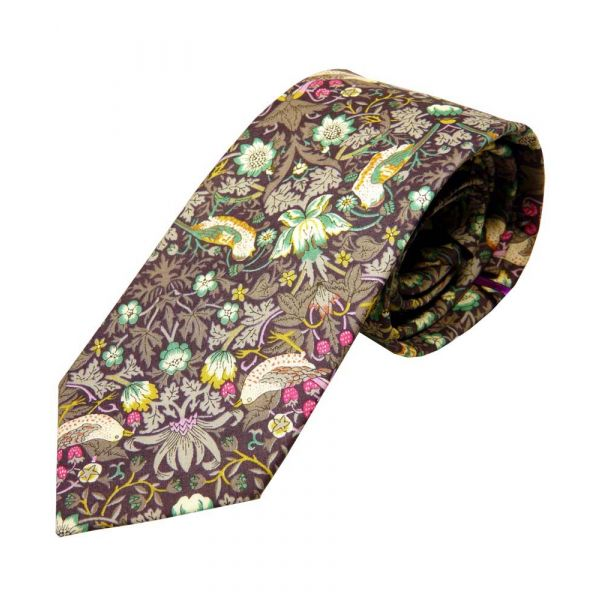 Liberty Print 'Strawberry Thief' Design in Brown Cotton Tie