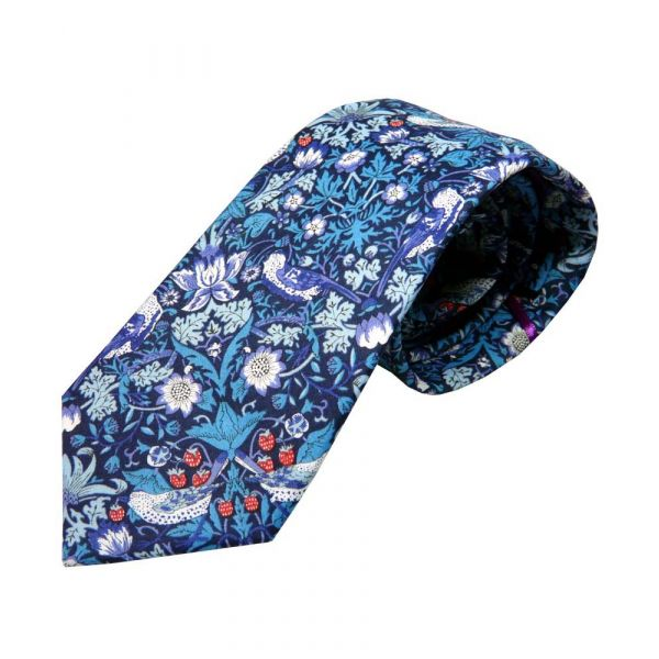 Liberty Print 'Strawberry Thief' Design in Blue Cotton Tie