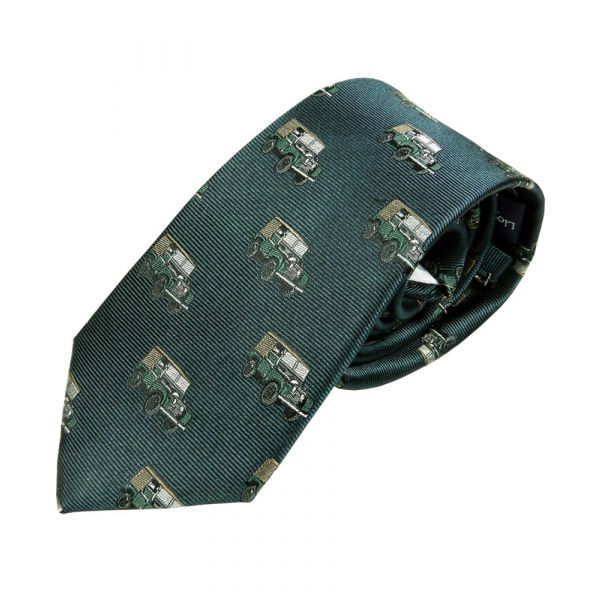 Dark Green Silk Tie with Landrover Design