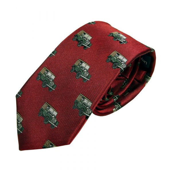 Dark Red Silk Tie with Landrover Design