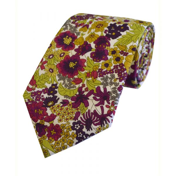 Liberty Print 'Margaret Annie' in Purple Cotton Tie