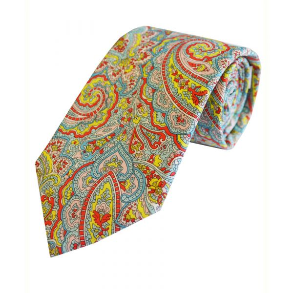 Liberty Print 'Tessa' in Turquoise Cotton Tie