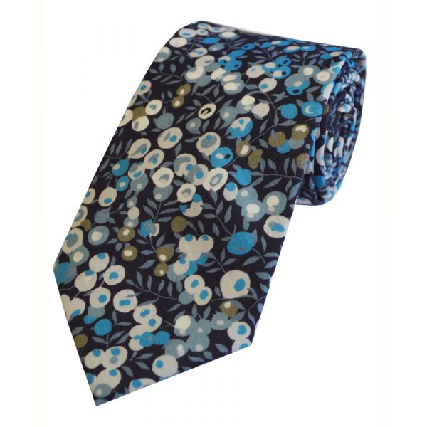 Liberty Print 'Wiltshire' in Blue Cotton Tie
