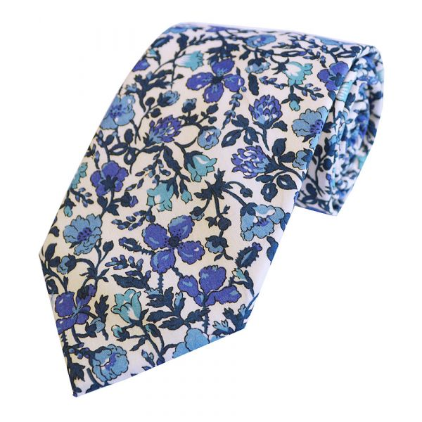Liberty Print Fabric 'Meadow' in Blue Cotton Tie