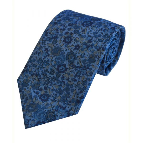 Liberty Print 'Emma and Georgina' in Blue Cotton Tie