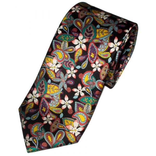 Liberty Print 'Lemon Flowers' Design in Black Silk Tie