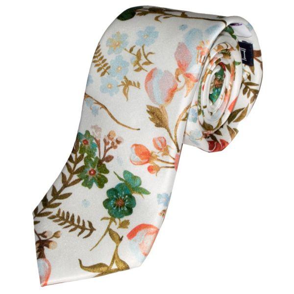 Liberty Print Fabric 'Heidi' Design in Ivory Silk Tie